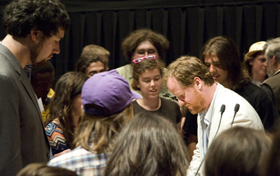 Whedon spoke to members of the audience following his talk May 30. He was the writer, director, and executive producer of Buffy the Vampire Slayer, Angel, and Firefly. His latest creative project is the new TV series Dollhouse. 
