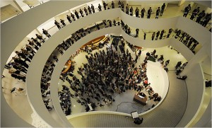 "Neely Bruce, at bottom of photo, conducts ""Orbits"" inside the Guggenheim Museum. The event was featured in the New York Times. (Photo by Robert Stolarik for the New York Times)"