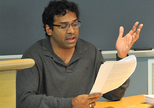 Wesleyan Writers Conference teacher Ravi Shankar leads a discussion on poetry June 17 during the 53rd annual conference.