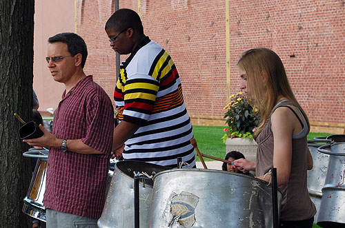 Pictured at left, Peter Hadley, private lessons teacher, taught the CCY students how to play steel drums in two weeks. Other CCY students learned problem-solving skills in instrumental and vocal music, theater, musical theater, technical theater, creative writing, dance, filmmaking and visual arts.