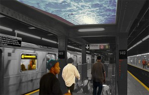 "As part of the Grand Concourse Beyond 100 urban planning project, Angus McCullough '10 designed the MTA ""Skyway."" By using cameras and projectors, the Skyway renders the sidewalk transparent, enabling passengers to see the sky from the platform below or an approaching train from above."