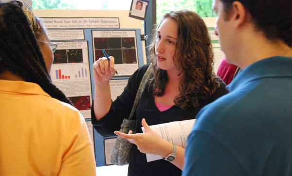 "Hughes Fellow Danielle Mor '10 speaks about her research titled ""Identifying Migration Guidance Factors for Transplanted Neural Stem Cells in the Epileptic Hippocampus."" Mor's advisor is Laura Grabel, the Lauren B. Dachs Professor of Science and Society, professor of biology."