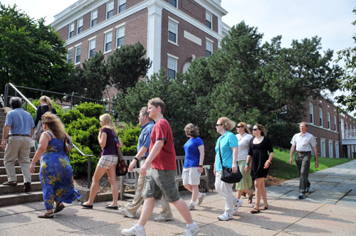 The Office of Admission hosts student-led campus tours throughout the summer Monday through Friday at 9 a.m., noon and 3 p.m. and Saturdays and Sundays at noon.