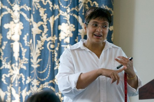 Manju Hingorani, associate professor of molecular biology and biochemistry, speaks on DNA mismatch repair during the 10th annual Molecular Biophysics Program Sept. 24 at Wadsworth Mansion in Middletown. More than 70 students and faculty attended the day-long event.