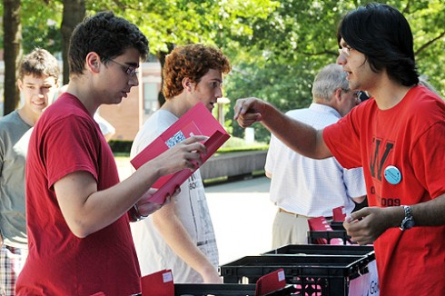 Residential Life staff handed out first-year-student information packets.