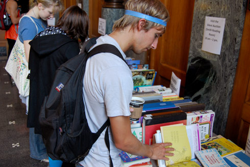 Spencer Sheridan '10 peruses the sale's humor section.