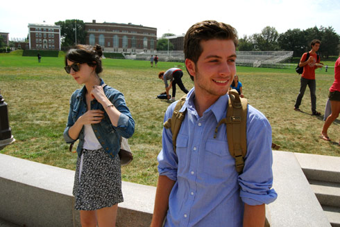 Zoe Beyer '10 and Daniel Krantz '11 prepare for their first day of classes on Sept. 8.