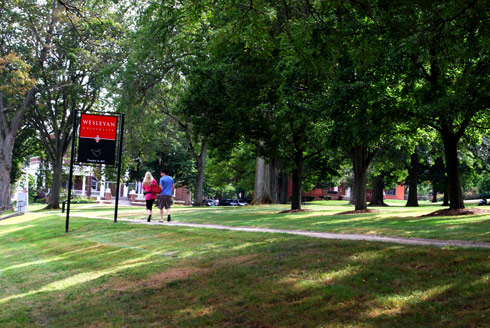 Wesleyan students stroll down College Row on their first day of school. (Photos by Stefan Weinberger '10)