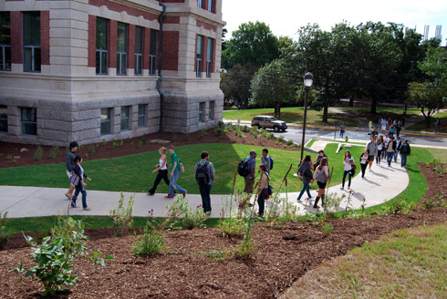 Students pass by the new Allbritton Center for the Study of Public Life.