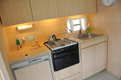 The fully-operational kitchen is made of bamboo cabinetry.