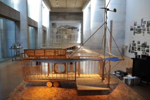 "An accompanying exhibit, titled ""Emergency Response Studio: Process,"" in Zilkha Gallery, looks at the ideas, materials, and construction that went into realizing ERS. It features a full-scale mockup of a 30-foot FEMA trailer that viewers can enter to experience the confining nature of the trailer's interior prior to the artist's transformation. A scale model of the life-size mockup, shows initial plans for what ERS might become."