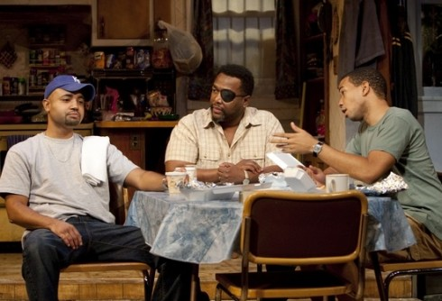 Francois Battiste, Wendell Pierce and Alano Miller in Broke-ology. (Photo by T. Charles Erickson)