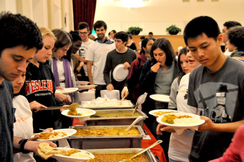 Wesleyan's Interfaith Justice League sponsored the third-annual Fast-a-Thon Oct. 1 in Beckham Hall. They agreed to fast for the day, and donated their unused meals or student meal points to the local soup kitchen, Amazing Grace Food Pantry.