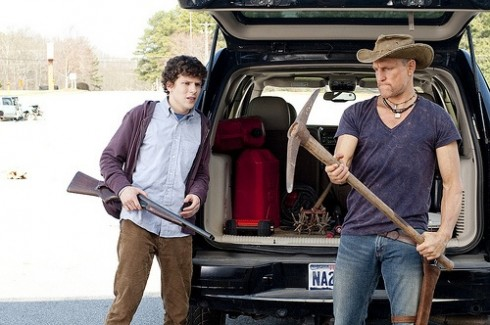 At left, Jesse Eisenberg and Woody Harrelson in Zombieland.