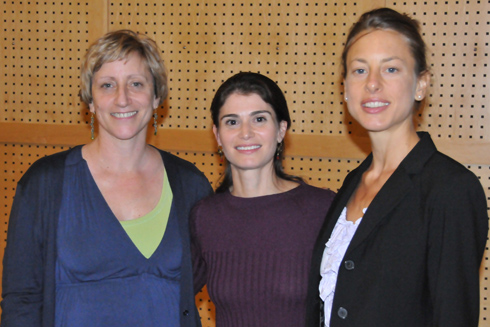From left, Laura Grabel, the Lauren B. Dachs Professor of Science and Society and Professor of Biology stands with Jessica Gerstle,  the filmmaker of The Accidental Advocate, and Laura Stark, assistant professor of science and society and assistant professor of sociology.  Stark arranged for the film about one family's personal journey with stem cell research and politics to be screened in the Powell Family Cinema on Oct. 7.