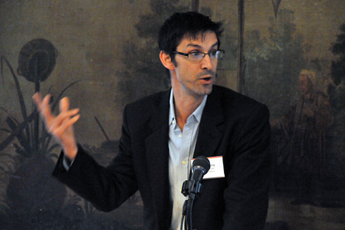 Ethan Kleinberg, associate professor of history and letters (pictured); introduced McCann and the topic of liberal humanism. Elizabeth Traube, professor of anthropology, and Richard Stamelman, director of The Montgomery Foundation at Dartmouth College, professor of French, emeritus at Williams College offered comments on McCann's talk.