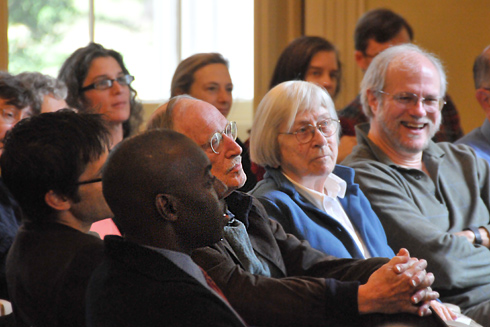 "In front, from left, Demetrius Eudell, associate professor of history, associate professor of African American studies, director of the Center for African American Studies; Jerry Wensinger, the Marcus L. Taft Professor of German Language and Literature and Professor of the Humanities, emeritus; Helen Reeve, professor emeritus from Connecticut College; and Joe Rouse, the Hedding Professor of Moral Science, professor and chair of the Science in Society Program, professor of philosophy; were among the conference's attendees. Eudell also led a talk titled ""After the Humanities? Or After the episteme?: Toward a Humanism Made to the Measure of the World."""