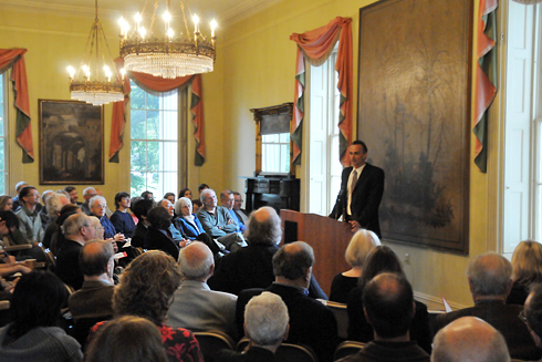 "Wesleyan President Michael Roth speaks on ""The Humanities and Their Aftermath: Three Tales of Protection, Sophistication, and Connection"" during the Center for the Humanities 50th Anniversary Conference Oct. 9 in Russell House. Roth was one of several speakers who discussed the pursuits, temporalities, obligations and limitations of the humanities of the 21st century."
