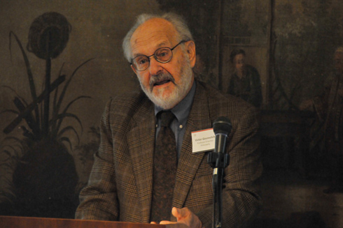 "Victor Gourevitch, professor of philosophy, emeritus (pictured), and Nancy Armstrong, the Gilbert, Louis and Edward Lehman Professor of English, Duke University, delivered comments following Roth's talk.  The conference was titled ""After the Humanities."""