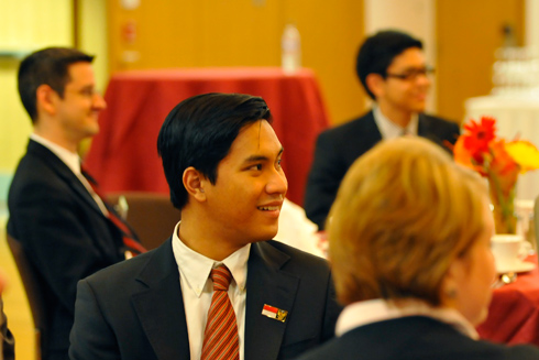Erwin Dwi Saputra '11 listens to King's address.