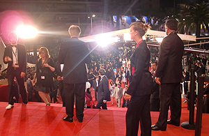 Draper took this photo of the red carpet leading up to the Grand Lumiere Theater (before the entrance of cast and crew), on the night of the premiere of Dasse Weisse Band, which won the Palme d'Or.