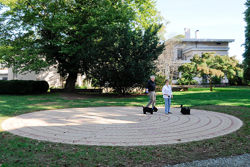 The new Wesleyan installation, Labyrinth, was presented to Wesleyan to honor Kit and Joe Reed. Kit is an author and resident writer at Wesleyan and Joe is professor of English and American studies, emeritus.