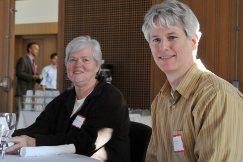 Linda Shettleworth, administrative assistant in the Astronomy Department, attended the luncheon with Ed Moran, chair of the Astronomy Department, associate professor of astronomy and director of the Van Vleck Observatory. Shettleworth celebrates 25 years at Wesleyan.