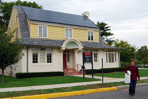 The Office of Admission received a solar panel installation in September. According to Peter Staye, associate director of utilities management, the Admissions building uses about 110,000 kWh annually. The panels create electricity at a maximum output of 3 kW and will produce about 3,000 kW hours annually towards that annual usage.