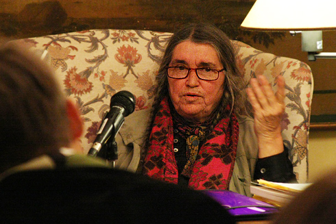 As part of the Writing at Wesleyan Russell House Series, poet Bernadette Mayer spoke and read prose Oct. 14. Mayer is the author of more than two dozen volumes of poetry, including Midwinter Day, Sonnets, The Desires of Mothers to Please Others in Letters, and Poetry State Forest. A former director of the Poetry Project at St. Mark's Church in the Bowery and co-editor of the conceptual magazine 0 to 9, Mayer has been a key figure on the New York poetry scene for decades.