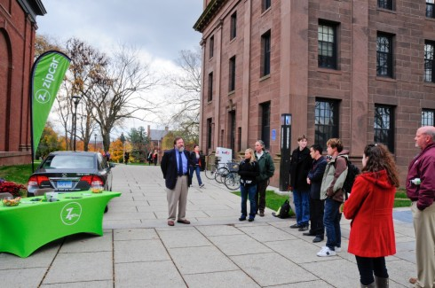 John Meerts, vice president for finance and administration, thanks members of the Wesleyan Student Assembly for bringing the new Zipcar to campus. Zipcar is the world's largest car-sharing service and provides students with a convenient, economical and environmentally-friendly alternative to having a car on campus.