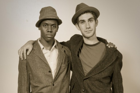 Aaron Peisner '12 and Garth Taylor '12 pose as rural Arkansans living between 1939 and 1945 in this portrait.