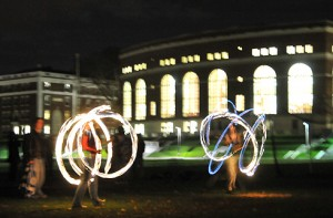 Prometheus, Wesleyan's student fire-dancing group, performed on Foss Hill Nov. 6 during Homecoming/Family Weekend.