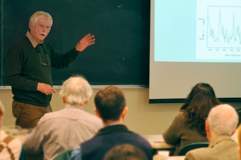 "Jelle Zeilinga de Boer, the Harold T. Stearns Professor of Earth Science, Emeritus, presented ""Stories in Stone: How Geology Influenced Connecticut History and Culture"" Nov. 19 in the Exley Science Center."