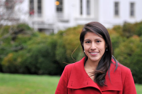 "Sandy Tello '06, assistant director of alumni relations, works with students to make sure they are aware of ""life after Wesleyan,"" and the importance of legacy and staying connected."
