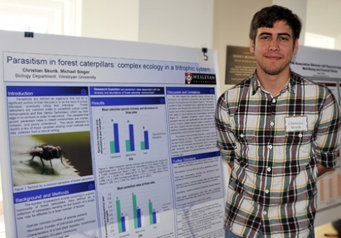 "Biology graduate student Christian Skorik's project is titled ""Parasitism in forest caterpillars: complex ecology in a tritrophic system."" Skorik's advisor is Michael Singer, assistant professor of biology."