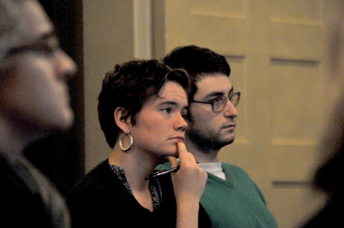 Students listen to Swinehart's presentation.