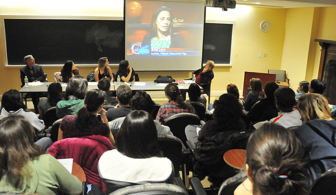 The English Majors Committee and the English Department sponsored English Major Grads Take on the World Dec. 10 in Downey House. The event's panel included, from left, Jim Kubat, associate director for career development; Amy Tang, assistant professor of English, assistant professor of American studies; book author Sophie Pollitt-Cohen '09 and <em>New Yorker</em> staff writer Ariel Levy '96. The audience watched a video clip of Levy, who was recently interviewed on The Colbert Report.
