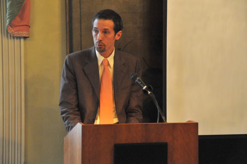 Joshua Rayman spoke on &quot;Adornos American Reception,&quot; during the symposium. Rayman is a professor for SCAD's eLearning Program. 