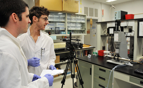 Molecular biology and biochemistry major Christopher Doucette '11 and graduate student F. Noah Biro also are featured in the JoVE video. The filmed experiments explain how they're able to monitor a protein binding with DNA by using a fluorescent 'reporter' marker.