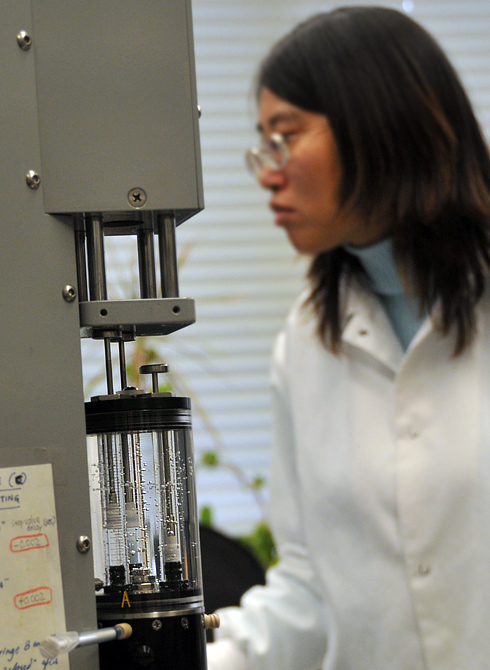 Zhai and her peers use a KinTek-brand stopped-flow kinetics instrument to monitor the activities of DNA repair proteins in real-time. The JoVE video will explain how the lab uses the instrument so others can develop their own experiments on their own system. The equipment and film was supported by a National Science Foundation grant awarded to Manju Hingorani, associate professor of molecular biology and biochemistry. 