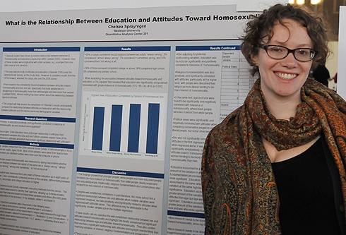 "College of Social Studies major Chelsea Sprayregen '10 shared her poster titled ""What is the relationship between education and attitudes toward homosexuality?"""