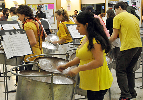 Student performers are enrolled in the MUSC course Steel Band, taught by Bill Carbone, private lessons teacher. The course teaches students primarily to perform, but also to discuss and analyze this specific music.