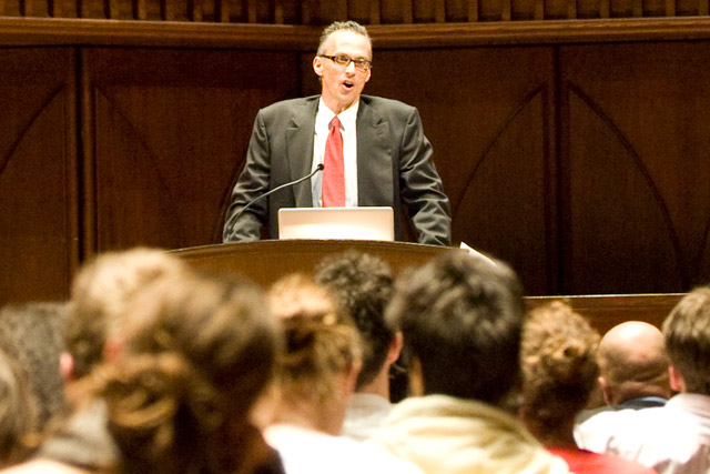 Wesleyan President Michael Roth welcomed the audience to the MLK Day Celebration following an excerpt of Dr. Marin Luther King Jr.'s Baccalaureate Address June 7, 1964.