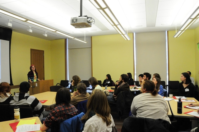 """Alex Ketchum '12 and other members of Wesleyan's Long Lane Farm presented """"Leading the Fight: Local Agriculture and Food Politics at Long Lane Farm. In this session, students discussed food insecurity in Middletown and what the Long Lane Farm has done to address that issue. Ketchum spoke about farm education and ways Long Lane has participated in various educational programs in Middletown surrounding local and organic food production."""