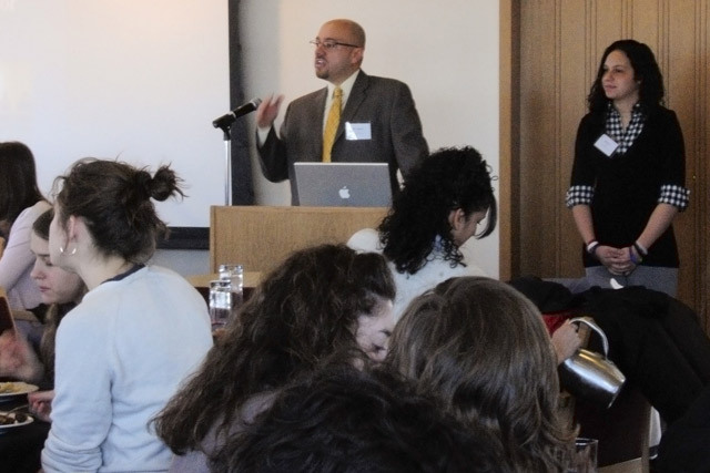 "Jason Irizarry, assistant professor of multicultural education in the Department of Curriculum and Instruction at the University of Connecticut, speaks during a lunch and presentation on ""Urban Youth as Scholar Activities."" This presentation documented the findings of a school-based participatory action research project that engaged urban youth in the struggle for educational equity and social justice."