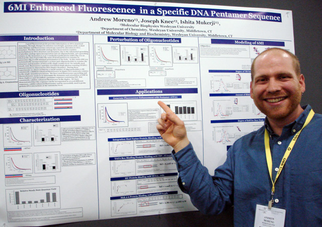 """Graduate student Andrew Moreno presented his research titled, """"6MI Enhances Fluorescence in a Specific DNA Pentamer Sequence."""" Moreno's advisors are Ishita Mukerji and Joseph Knee, chair and professor of chemistry."""