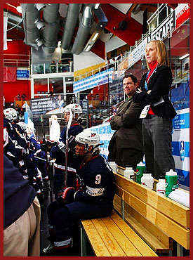 Jodi McKenna, at right, coached the World Championships in Finland in April 2009 (pictured), and Team USA during the 2010 Olympics in Vancouver, British Columbia. (Photo courtesy of USA Hockey)