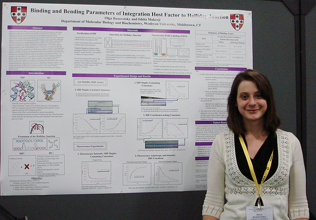 "Several Wesleyan students presented their work at the Biophysical Society 54th Annual Meeting Feb. 20-24 in San Francisco, Calif. More than 6,000 scientists from academia, government and industry attended. Olga Buzovetsky '10, pictured, presented her poster titled ""Binding and Bending Parameters of Integration Host Factor to Holliday Junction."" Her advisor is Ishita Mukerji, professor of molecular biology and biochemistry."