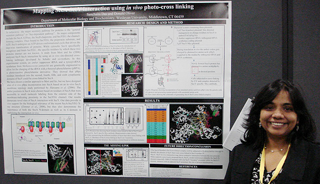 "Graduate student Sanchaita Das presented her poster titled, ""Mapping SecA-SecY Interaction using In Vivo Photo-Cross Linking."" Das's advisor is Don Oliver, the Daniel Ayres Professor of Biology, professor of molecular biology and biochemistry."