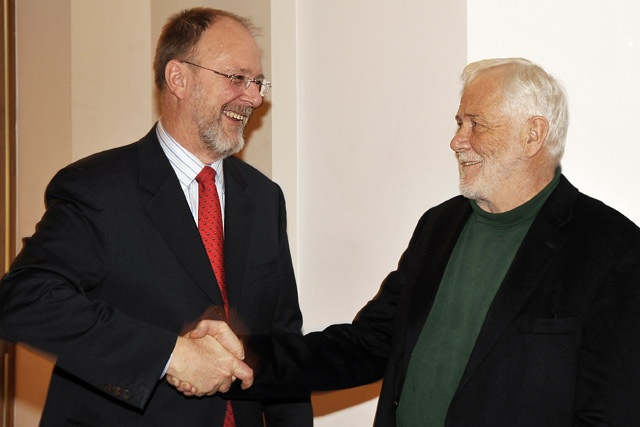 Wesleyan Board of Trustees Chair Joshua Boger '73, P'06, P'09 established the Joshua Boger University Professorship of The Sciences and Mathematics as part of a $12M gift to Wesleyan. Pictured, at left, Boger congratulates David Beveridge, professor of chemistry, who is the first recipient of the chair appointment.